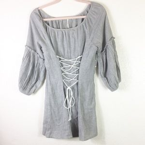 [Free People] Statement Sleeve tie up blouse